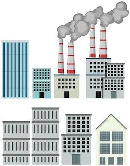 Gran conjunto de edificios de fábrica