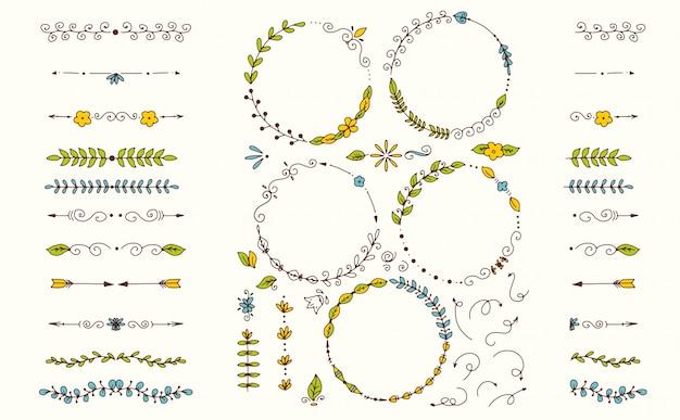Gran conjunto de elementos decorativos dibujados a mano