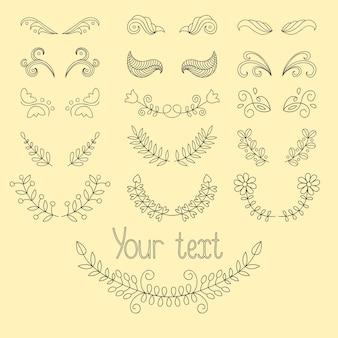 Gran conjunto: elementos de diseño caligráfico y decoración de página con laureles, coronas, divisores de líneas caligráficas. elementos de diseño dibujados a mano
