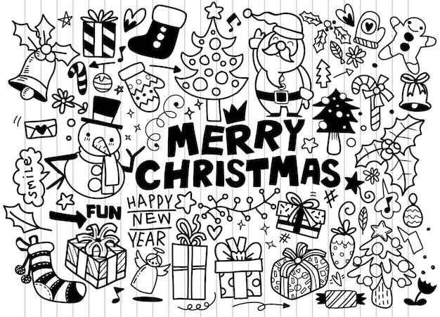 Gran conjunto de elementos de diseño de navidad en estilo doodle