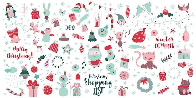 Gran conjunto de elementos de diseño navideño en estilo doodle mega conjunto de bocetos