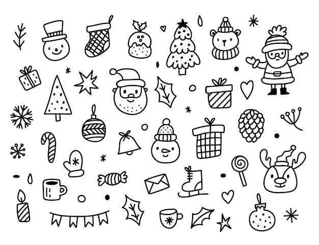 Gran conjunto de elementos de diseño navideño en estilo doodle