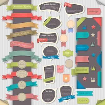 Gran conjunto de elementos de diseño retro y burbujas de discurso