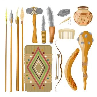 Gran conjunto de elementos de la gente antigua. objetos prehistóricos. ilustración vectorial