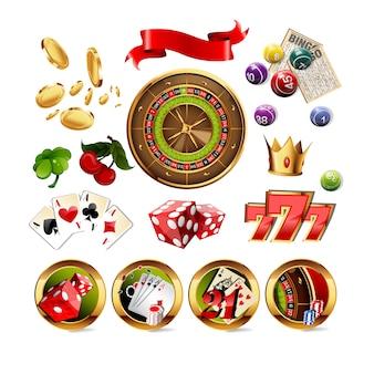 Gran conjunto de elementos de juego de casino