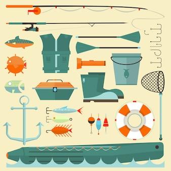Gran conjunto de elementos de pesca.