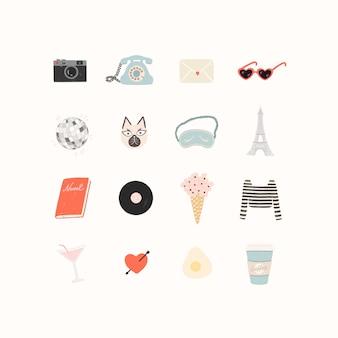 Gran conjunto de elementos románticos en un tema de viaje y vacaciones de verano.