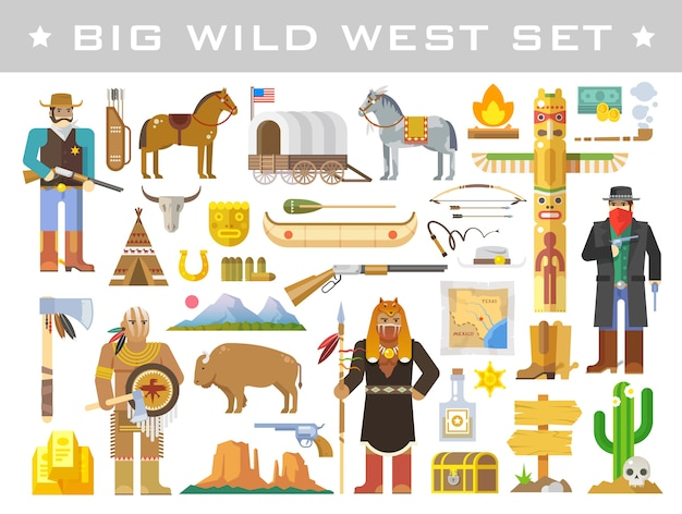 Gran conjunto de elementos sobre el tema del salvaje oeste.