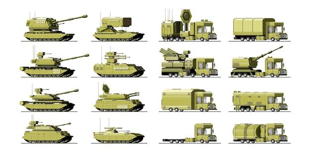 Gran conjunto de equipamiento militar. pesado, reservas y transporte especial. equipo para la guerra. los misiles, tanques, camiones, vehículos blindados, piezas de artillería. objetos aislados. ilustración