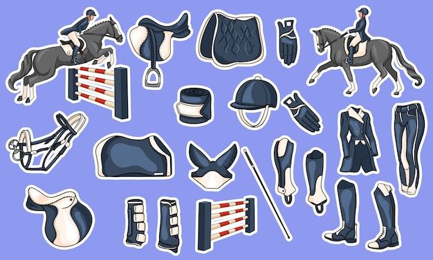 Gran conjunto de equipos para el jinete y municiones para el jinete en la ilustración del caballo en estilo de dibujos animados. sillín, manta, látigo, ropa, mantel, protección.