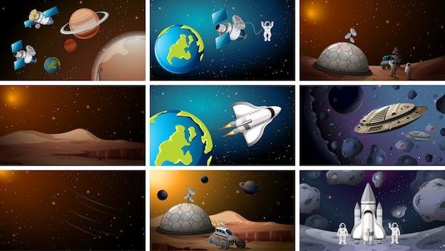 Gran conjunto de escenas espaciales o de fondo.
