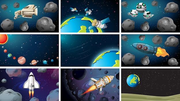 Gran conjunto de escenas espaciales.