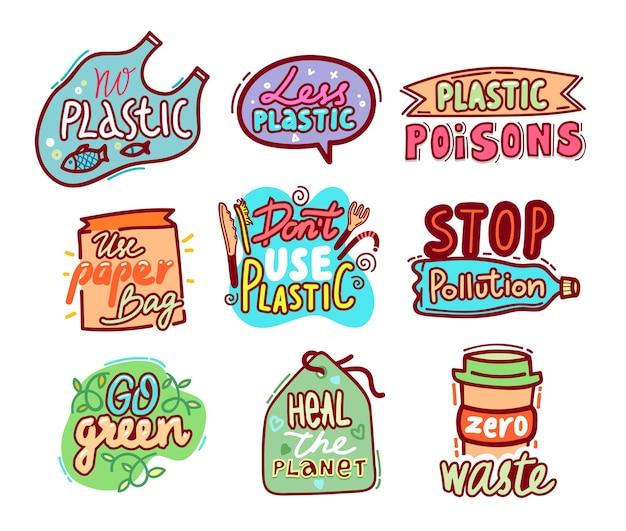 Gran conjunto de etiquetas de reciclaje e insignias con tipografía y elementos dibujados a mano de doodle