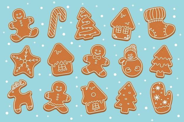 Gran conjunto de figuras de galletas de jengibre navideñas