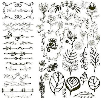 Gran conjunto floral dibujado a mano con flores silvestres, hojas, remolinos, frontera.