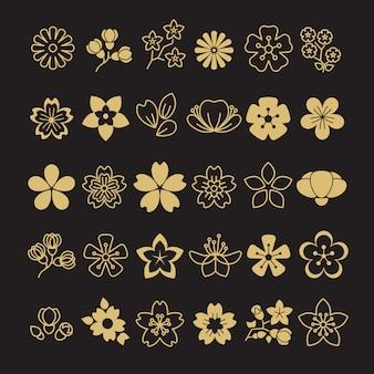 Gran conjunto de flores de flor dorada, hojas y ramas.