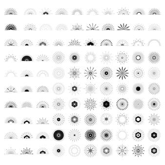 Gran conjunto de formas retro sunburst