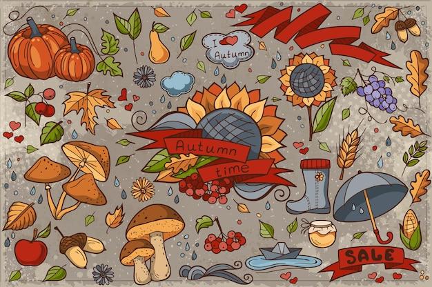 Gran conjunto de garabatos dibujados a mano de colores sobre el tema del otoño