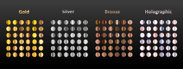 Un gran conjunto de gradientes metálicos redondos.