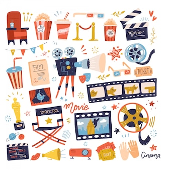 Gran conjunto de iconos de cine. hacer películas y ver películas en la colección de ilustraciones de cine.