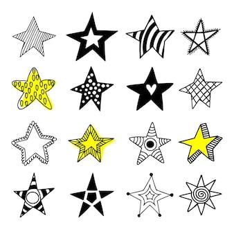 Gran conjunto de iconos de estrellas doodle