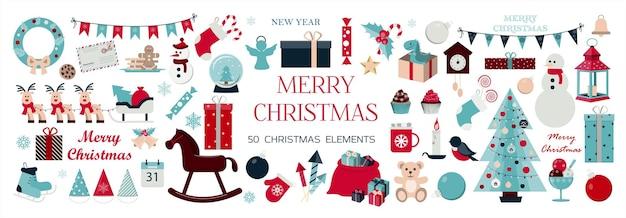 Gran conjunto de iconos navideños y elementos para decorar tarjetas, anuncios, pancartas, folletos e invitaciones.