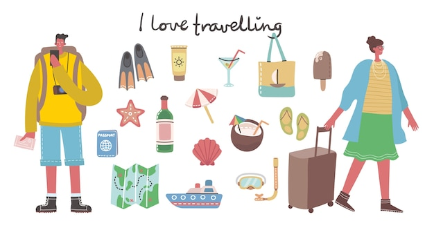 Gran conjunto de iconos y objetos relacionados con viajes y vacaciones de verano.