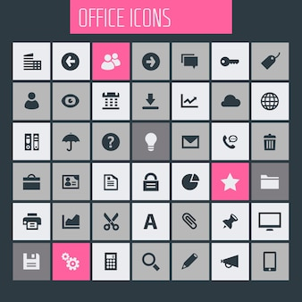 Gran conjunto de iconos de ui, ux y office