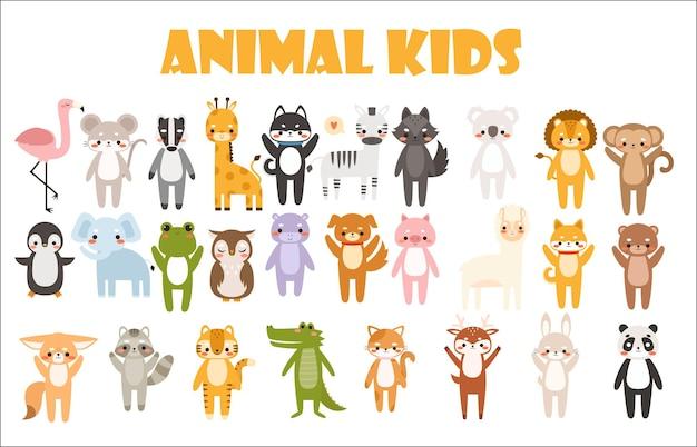 Gran conjunto de ilustración de animales de dibujos animados lindo