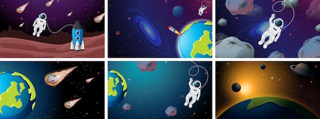 Gran conjunto de ilustraciones de escenas espaciales.