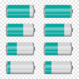 Gran conjunto de indicadores de carga de batería en un fondo transparente