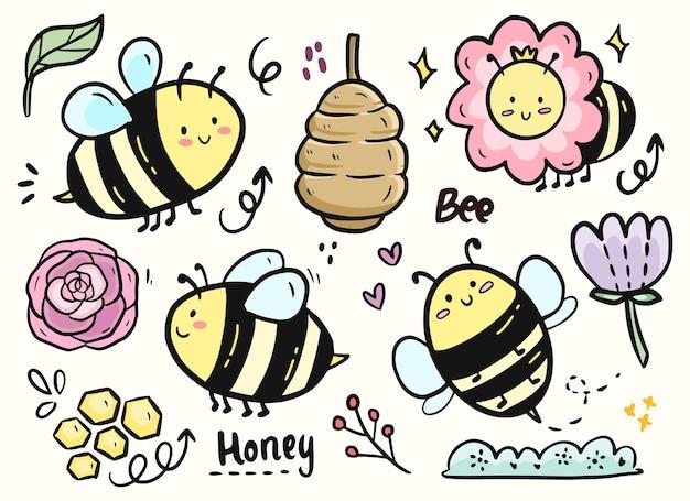 Gran conjunto de lindo conjunto de colección de doodle de abejas y flores