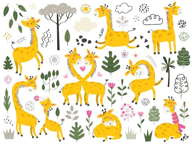 Gran conjunto de lindos dibujos animados pequeñas jirafas y artículos