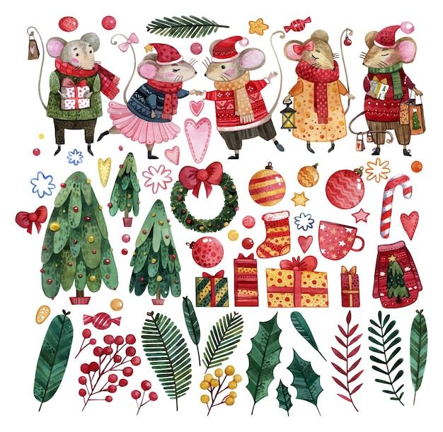 Un gran conjunto de lindos ratones con disfraces de invierno, bolas de navidad, regalos y árboles de navidad pintados con acuarela.