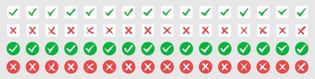 Gran conjunto de marcas de verificación verdes y cruces rojas