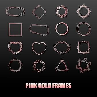 Gran conjunto de marcos de metal de oro rosa