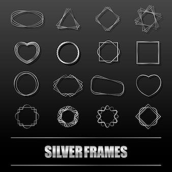Gran conjunto de marcos de metal plateado