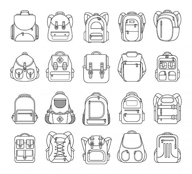 Gran conjunto de mochila escolar, deporte y bolsa de viaje icono de línea aislado sobre fondo blanco.