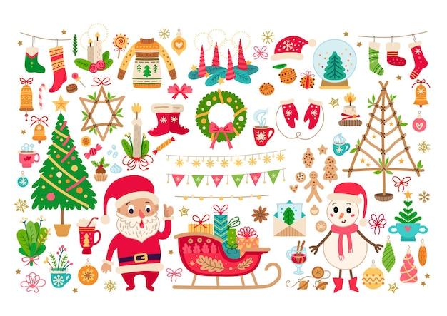 Gran conjunto de navidad aislado sobre fondo blanco.