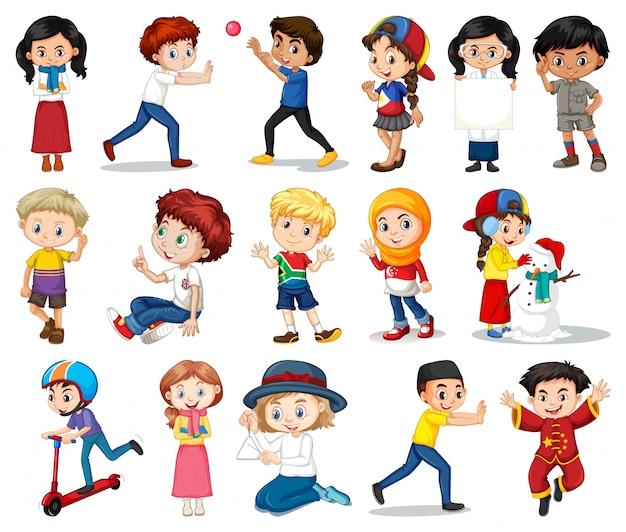 Gran conjunto de niños y niñas que realizan diferentes actividades en blanco