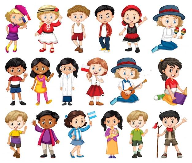 Gran conjunto de niños y niñas que realizan diferentes actividades sobre fondo blanco.