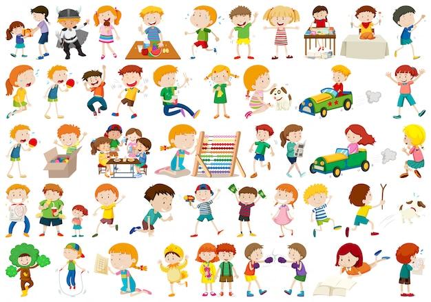 Gran conjunto de niños