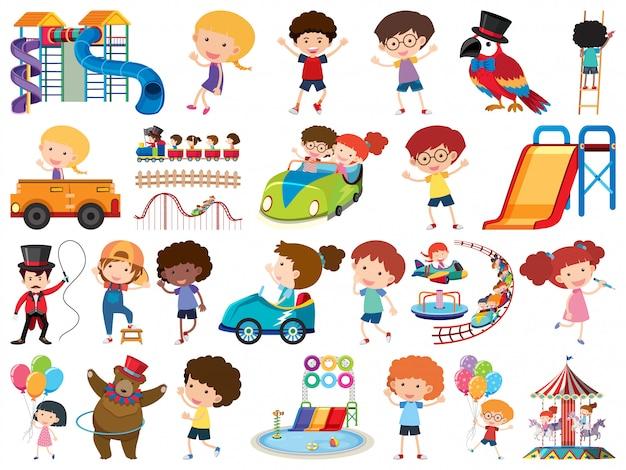 Gran conjunto de objetos aislados de niños y circo.