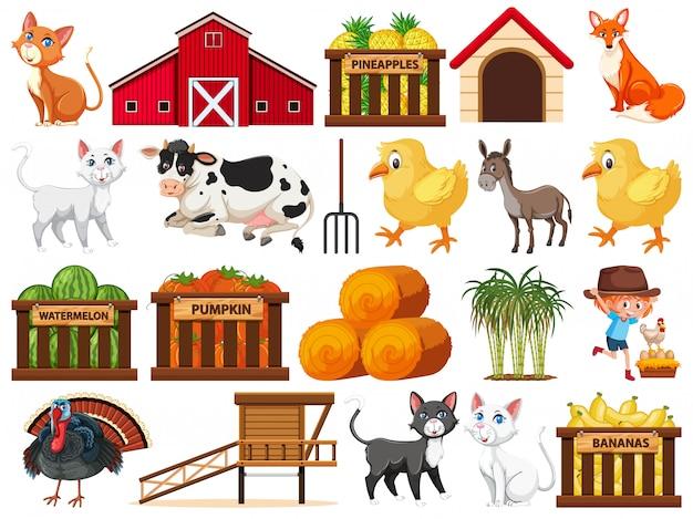 Gran conjunto de objetos de granja aislados.