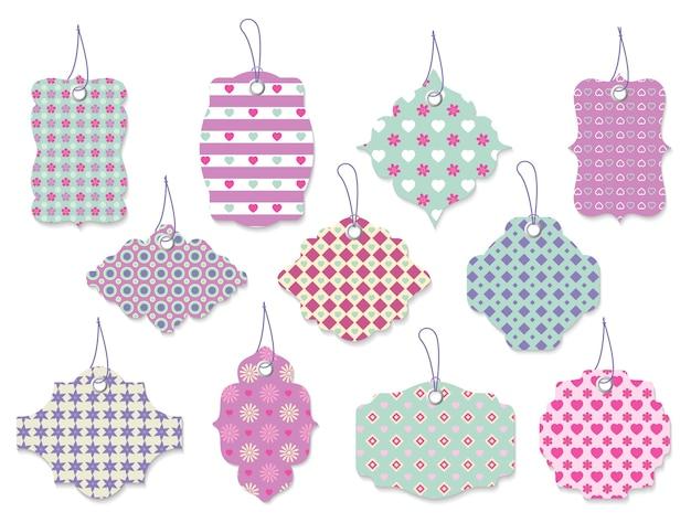Gran conjunto de once lindas etiquetas vectoriales bonitas y etiquetas con flores y corazones en formas ornamentadas y colores pastel para regalos para ocasiones especiales