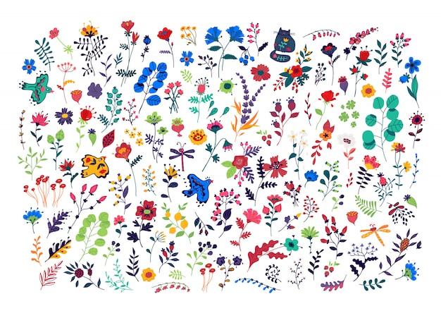 Gran conjunto de patrón de flores.