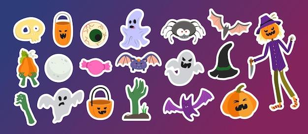 Un gran conjunto de pegatinas vectoriales para halloween.