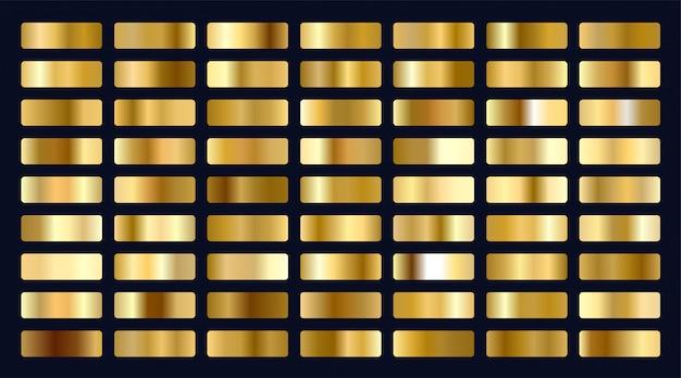 Gran conjunto de pendientes metálicos dorados.