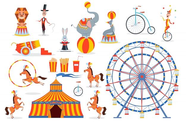 Un gran conjunto de personajes y objetos de circo.