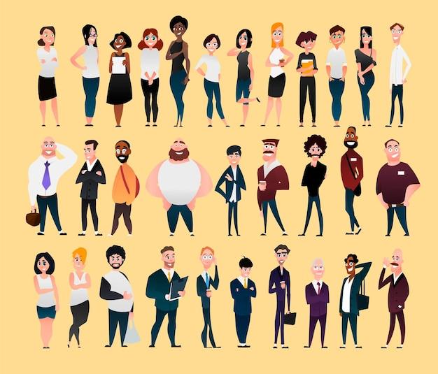 Gran conjunto de personajes planos de oficina, empleados de la empresa.